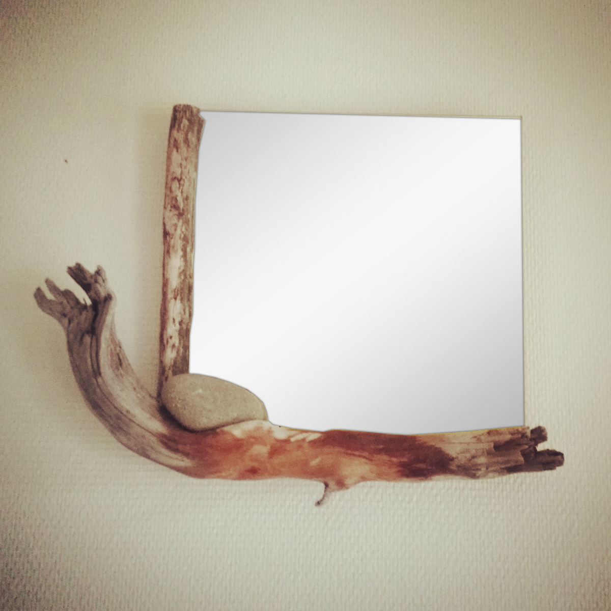 Miroir bois flott art by ze studio annecy cr ations for Miroir cadre bois flotte